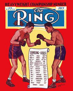 Max Schmeling vs Joe Louis Ring Magazine Cover, 8x10 Color Photo