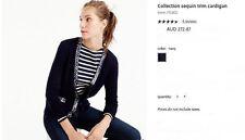 NWT $270 Designer J.CREW COLLECTION Sequin Trim MERINO WOOL Cardigan French Navy