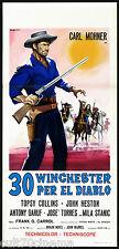30 WINCHESTER PER EL DIABLO LOCANDINA CINEMA WESTERN ITALIA 1965 PLAYBILL POSTER
