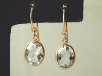 Aquamarine drop earrings 9 carat rose gold french hooks 2.12 carats