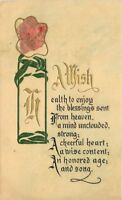 Arts Crafts Wish Saying C-1910 Floral Vase postcard 6019