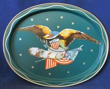 Vintage Tole Painted Eagle Flag Coonskin Cap on Teal Metal Tray Gold Accents