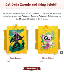 Shiny Celebi & Dada Zarude CODES Newsletter Movie - Pokémon Sword & Shield