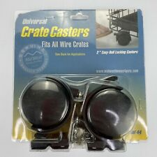 """New Pack of 2 Universal Wire Crate Casters Locking 2"""" inch Wheels Model 44"""
