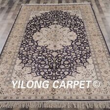 YILONG 6'x9' Hand Knotted Silk Rug Living Room Furniture Carpet 628B