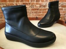 FitFlop Black Ottie Sock Faux Leather Comfort Bootie Ankle Boot 7 38 New