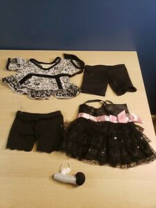 Build a Bear Black Dress w/ Pink Ribbon 2 Pants and Shirt Microphone Hello Kitty