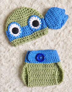 Handmade TMNT Inspired Ninja Turtles Leonardo Crochet Baby Photo Prop. 2 Piece