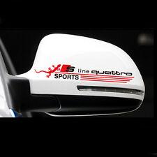 Audi 2er Set Logo Spiegel Rückspiegel Sticker Aufkleber S-line Quattro Schwarz