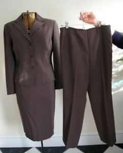 wool TALBOTS brown business suit skirt pants jacket 2PC 3PC sz 8 lined work