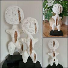 Skulptur Primitiv Mensch Gr M Mensch Holzsockel weis Natur mit Ständer