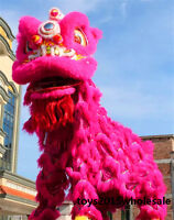 Lion Dance mascot Costume wool Southern pink Lion Chinese Folk art For two adult