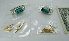 2 Positronic Mil Spec DSub Connectors DE-9, DB-9 Male, Gold Crimp Pins RD9M1000Z