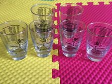 Vintage 1911-1976 Set of 6 Indy 500 Speedway Winners Glasses Gold Rim Excellent