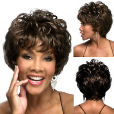 Ombre Black Brown Short Bang Wavy Curly Style Synthetic Afro Wigs for Women New