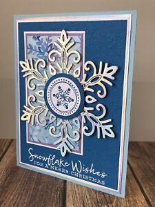 Stampin' Up Christmas Card Kit- Snowflake Splendor, Iridescent Foil, Merry