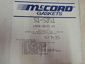McCord 51-5351 Lower Conversion Gasket Set Fits GM/Geo/Suzuki 1.0L 3 Cyl