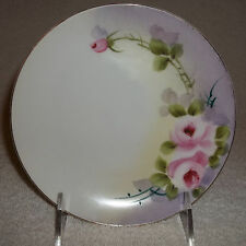 """6 1/2"""" Vintage NIPPON HAND PAINTED Pink Rose B&B Antique Collector Wall Plate"""