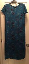 Laura Ashley Womens Maxi Dress Silk Floral Blue Short Sleeve Size 8