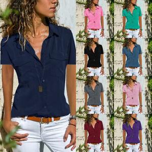 Damen Sommer T-Shirt Kurzarm Hemd Bluse Blusenhemd Freizeit Oberteile Unifarben