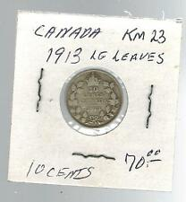 1913 Canada Ten Cents coin KM 23 Large Leaves