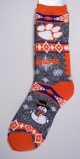 Clemson Tigers Socks Medium Size 5 to 10 Holiday Christmas Snowman