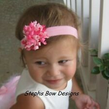 Soft Hot Shock Pink Dainty Korker Hair Bow Headband Fits Preemie to Toddler Cute
