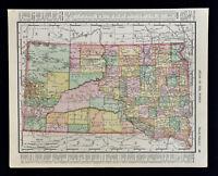 1900 Rand McNally Map North & South Dakota - Black Hills Deadwood Bismarck Fargo
