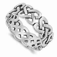 Mens 925 Sterling Silver Celtic Knot Ring 7mm Wide - Velvet Pouch