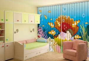 3D Shell Anime Blockout Photo Curtain Printing Curtains Drapes Fabric Window US