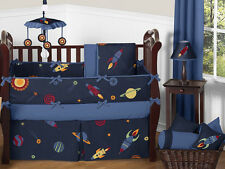 Sweet Jojo Designs Navy Blue Outer Space Stars Planets Baby Boy Bedding Crib Set