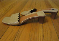 WOMEN'S BEIGE LEATHER SLIP ON SANDALS - HEELS - NINE WEST - SIZE 7 M