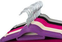 10-100 Velvet Coat Hangers Clothes Non Slip Suit Shirt Trouser Pants Bar Flocked