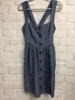 Free People Chambray Jumper Overall Dress Cross Back 12 Cotton Hemp Button  SLD1