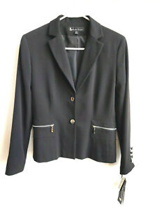 NWT Black Blazer Larry Levine Zip Pockets Button Front  Women's 6P