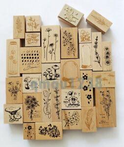 Vintage Wooden Rubber Stamps Plants Flowers Scrapbooking DIY Craft Journal Decor