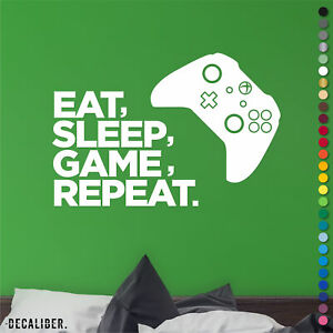 Xbox One Eat Sleep Game Repeat Sticker Decal Wall Art Childrens Bedroom Gaming