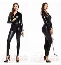 4 Way Zip Wetlook Sexy Shiny Black Stretch PVC/latex Catsuit Size 16~18 Free P&P