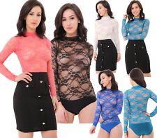 Womens Lace Bodysuit Ladies Floral Sheer High Neck Leotard Ladies lace girl lace