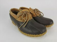 LL Bean Duck Boots Low Brown Rubber Tan Leather Shoes Womens Size 9