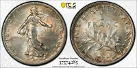 1920 FRANCE SILVER 1 FRANC PCGS MS62 BU UNC STRIKING TONED GEM CHOICE (MR)