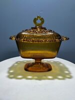 Vintage Tiara (Amber) Glass Candy Dish With Lid And Decorative Edging 50's-60's