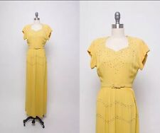 Vtg Hollywood 40s Dress Gown Gold Yellow  Rhinestone Studs pinup NYE sequin glam