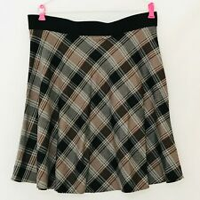 Karen Kane XL Skirt Brown Beige Tartan Plaid Elastic Waist Rayon Wool Look USA
