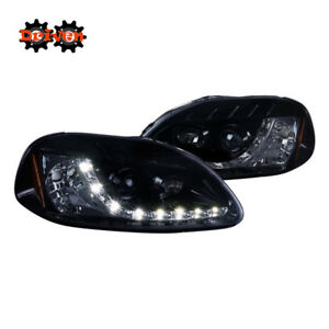 For  96-98 Civic Projector R8 LED DRL Smoked Tinted Lens Black Housing Headlight