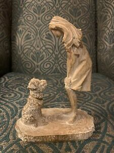 Next Girl And Dog Ornament Charlie The Cockapoo Sculpture Wood Effect