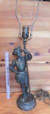 Antique Spelter male baroque figural Lamp man Renaissance cavalier musketeer