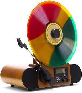 Fuse Vert Vertical Vinyl Record Player- Bluetooth, FM Radio, Alarm, Ashtree Wood