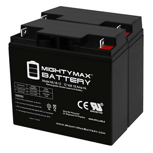 Mighty Max 12V 18AH UPS Replacement Battery for APC RBC11, RBC7, RBC55 - 2 Pack