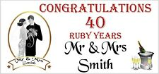 2 PERSONALISED 40th 40 Ruby Wedding Anniversary Banners Party Decorations 003